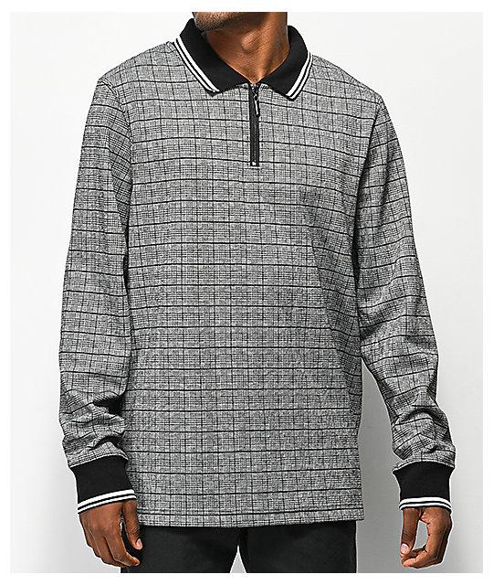 423f503f Empyre Scotch Plaid Zip Up Long Sleeve Polo Shirt