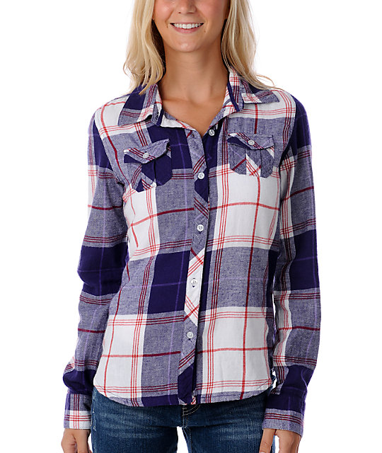 Empyre Scuffle White, Red & Purple Flannel Shirt