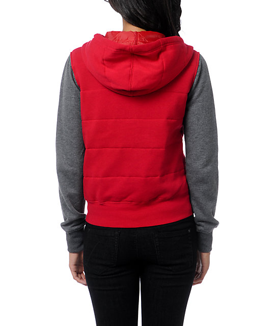 Empyre Shelby Jester Red & Charcoal Grey Zip Up Hoodie