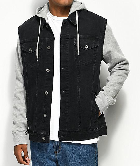 select for latest choose genuine premium selection Empyre Sidecar Black Denim & Grey Knit Vest Hoodie