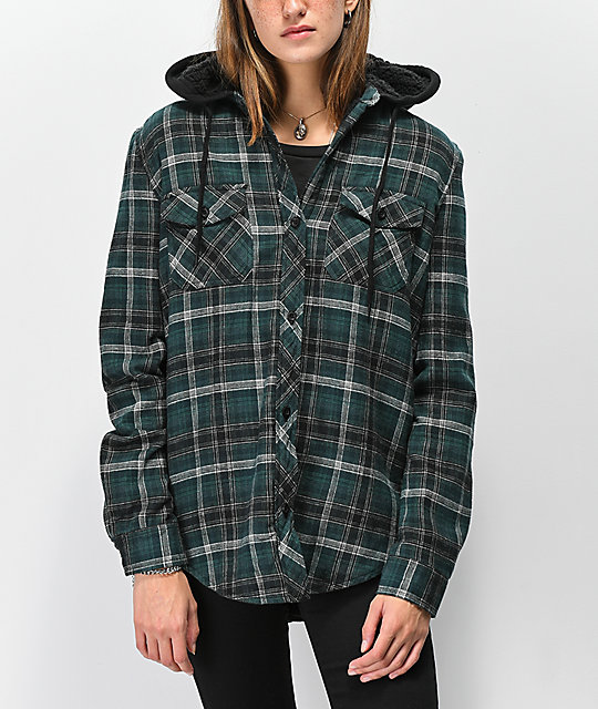 Empyre Skagit Green Plaid Sherpa Lined Flannel