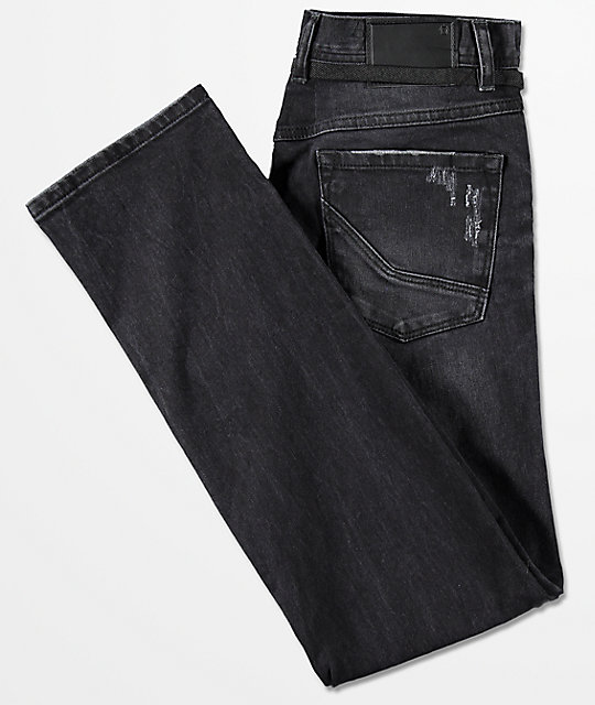 Empyre Skeletor Abyss Black Wash Skinny Jeans