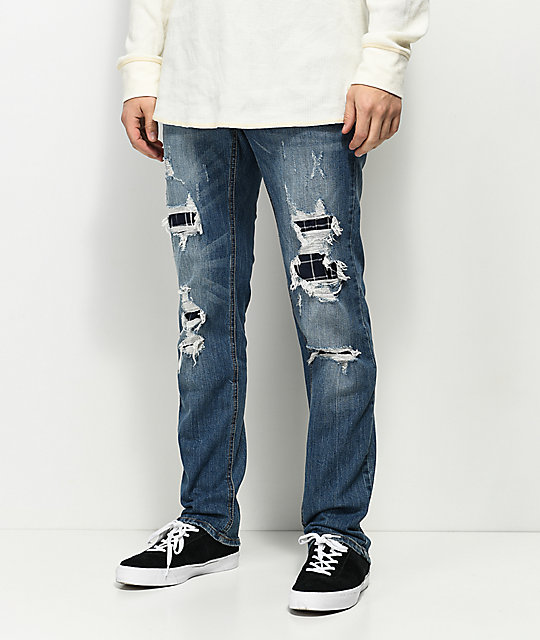 Empyre Skeletor Adams Ripped & Patched Jeans