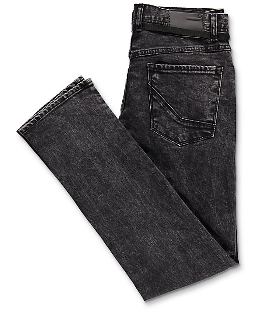 Empyre Skeletor Black Acid Washed Skinny Jeans