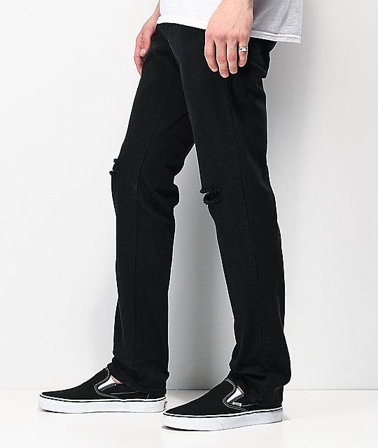 Empyre Skeletor Knee Slit Black Skinny Jeans
