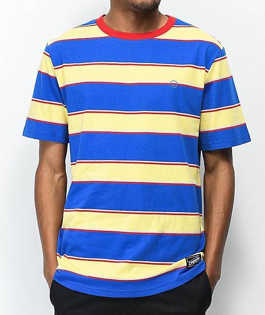 a0c9fb3c4 Empyre Skrrt Striped Blue & Yellow T-Shirt   Zumiez