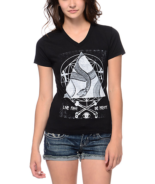Empyre Snake Triangle Black V-Neck T-Shirt