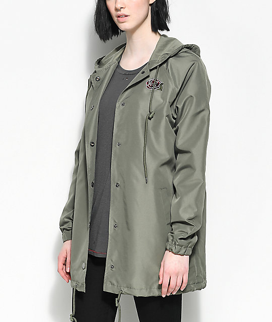 Empyre Sofi Rose Olive Hooded Coaches Jacket