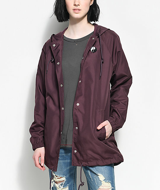 Empyre Sofi Yin Yang Burgundy Hooded Coaches Jacket