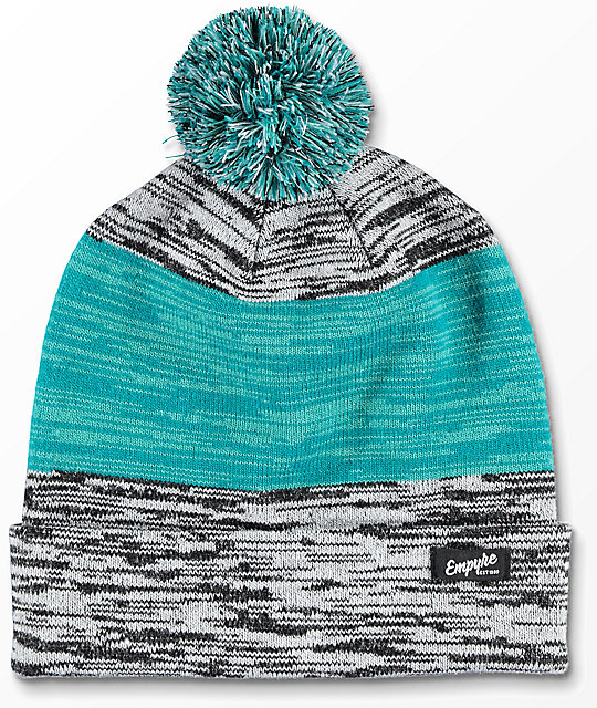 Empyre Space Cadet Teal & Grey Pom Beanie