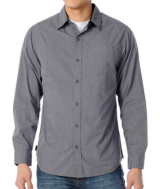 Empyre Spiff Grey Long Sleeve Woven Shirt