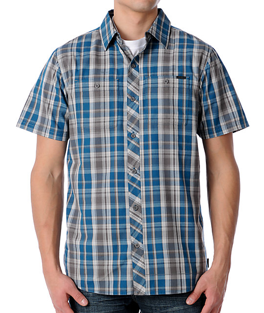 Empyre Spreckler Plaid Turquoise Woven Shirt