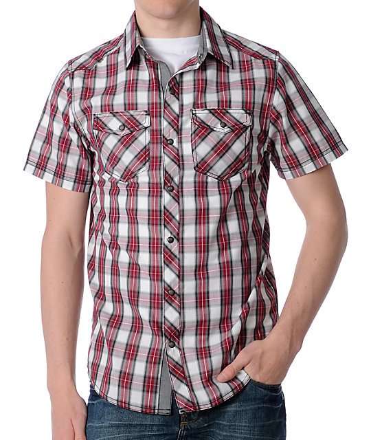 Empyre Stack Red Plaid Woven Shirt