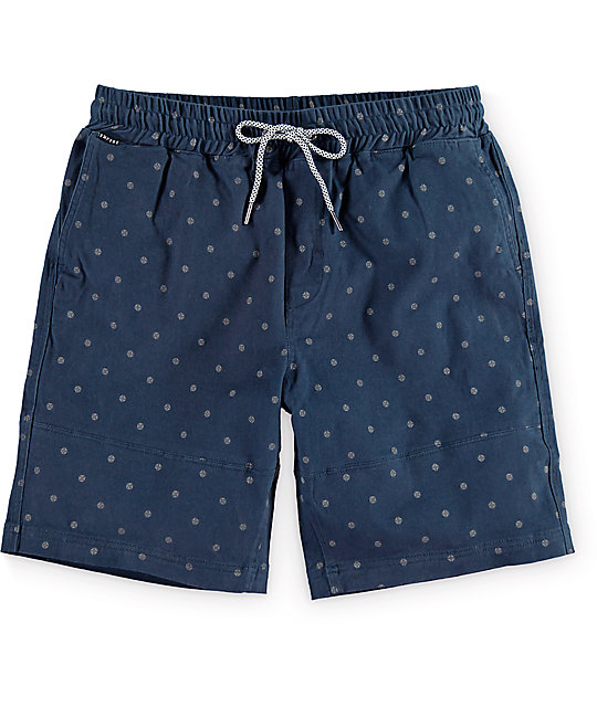 Empyre Stack Up Navy Print Easy Waist Chino Shorts