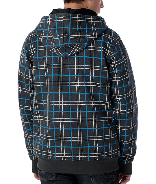 Empyre Stealth Grey & Blue Plaid Hoodie