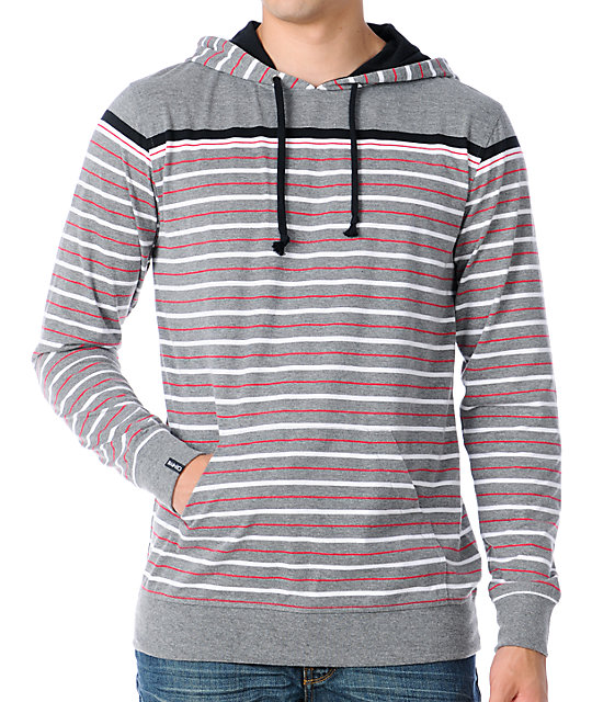 Empyre Stone Cold Grey Stripe Knit Pullover Hooded Shirt