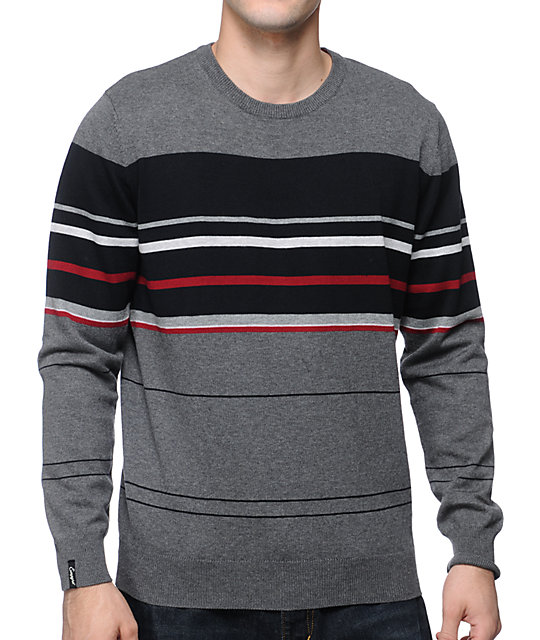 Empyre Stops Black, Red & Grey Crew Neck Sweater