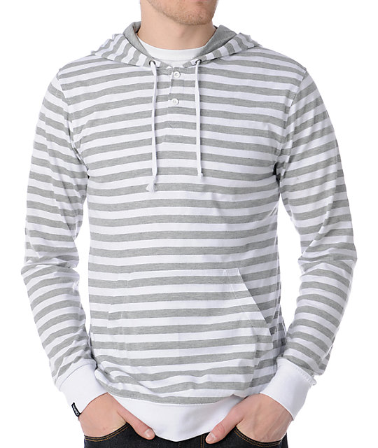 Empyre Striker White & Grey Striped Knit Pullover Hooded Shirt