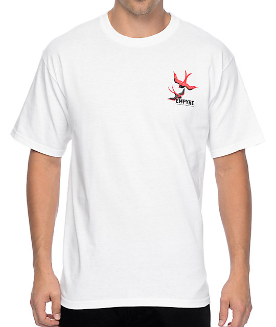 Empyre Swallows And Roses White T-Shirt