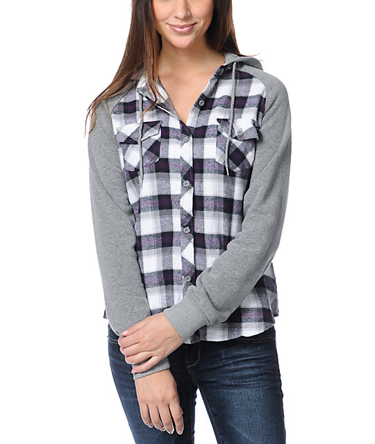 Empyre Sycamore Purple Plaid Hooded Flannel Shirt