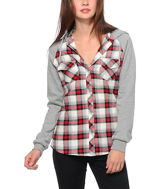 3834ac8c945 Empyre Sycamore Red   Grey Hooded Flannel