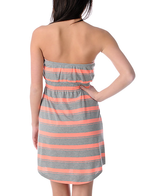 Empyre Teaberry & Grey Stripe Tube Dress