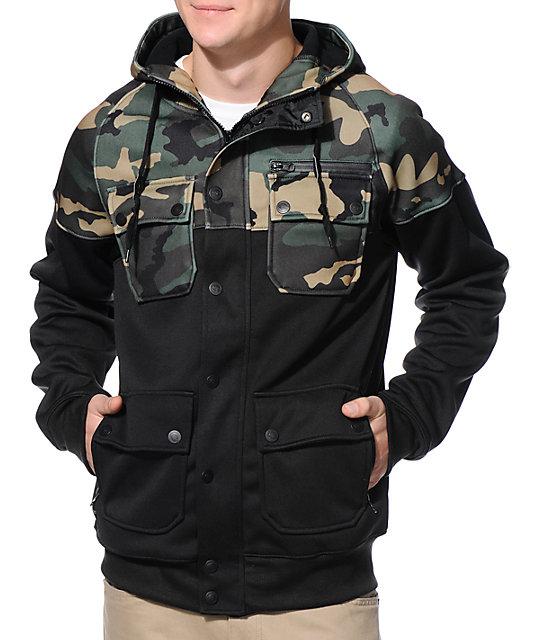 37c6e7b2cc95c Empyre Teleporter Black & Camo M65 Tech Fleece Jacket | Zumiez