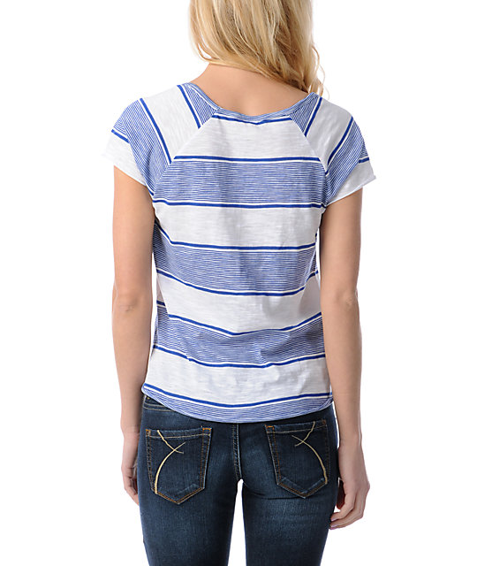 Empyre Tempo White & Blue Striped Scoop Neck T-Shirt