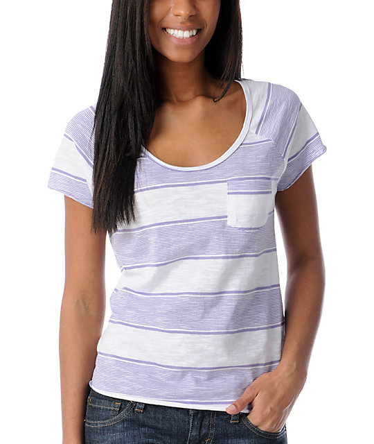 Empyre Tempo White & Purple Striped Scoop Neck T-Shirt