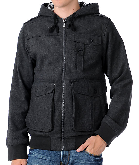 Empyre Tendence Mens Hooded Wool Bomber Jacket