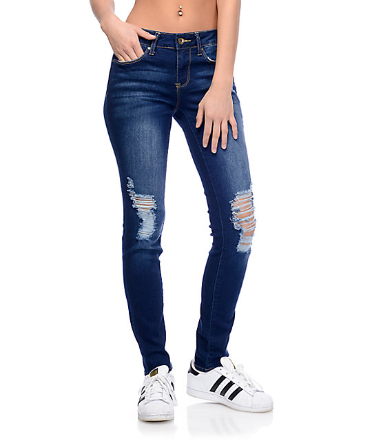 acb9fd2c7b1 Empyre Tessa Dark Wash Lido Distressed Skinny Jeans