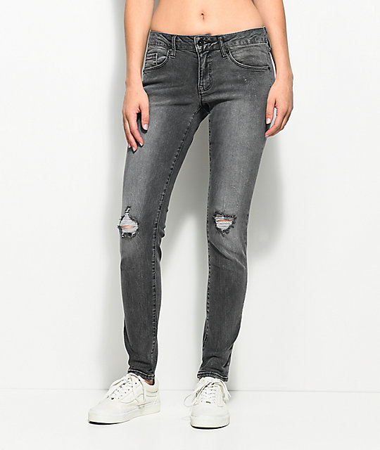 bd3f75a3c7 Empyre Tessa Washed Black Distressed Skinny Jeans