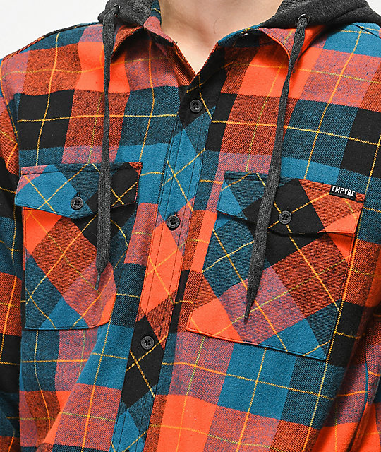 Empyre Thad Red & Blue Hooded Flannel Shirt