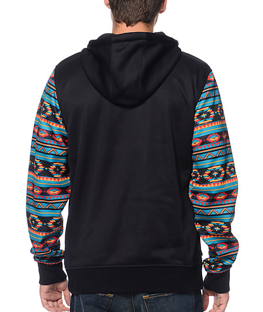 Empyre The Riot Black & Native Print Tech Fleece Hooded Jacket
