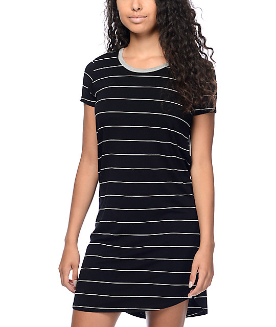 black and white striped tee shirt dress