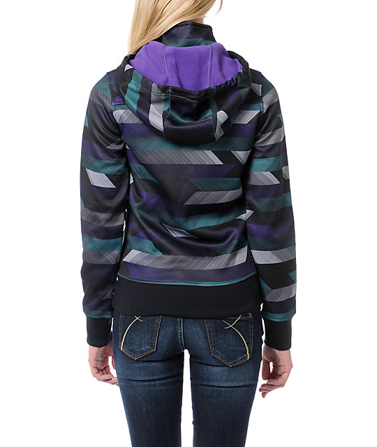 Empyre Timber Black, Purple & Teal Stripe Tech Fleece Jacket