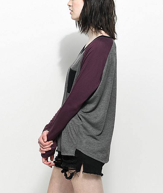 Empyre Topanga V-Neck Grey & Burgundy Long Sleeve T-Shirt
