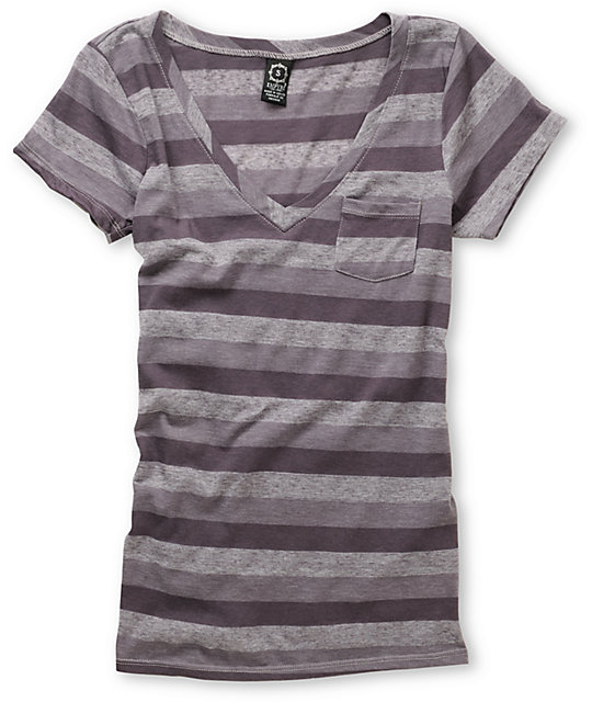 Empyre Trivial Heather Grey Striped T-Shirt