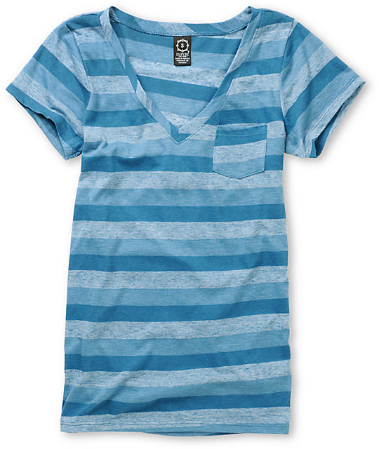 Empyre Trivial Real Teal Striped T-Shirt
