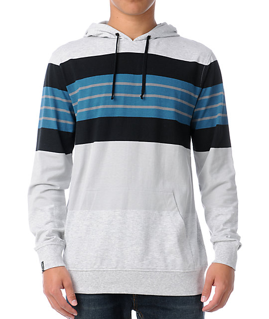Empyre Vagabond Grey Stripe Pullover Hooded Shirt