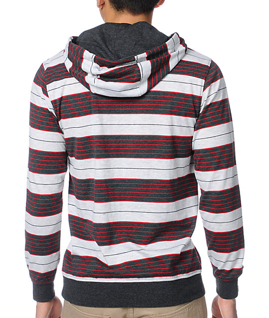 Empyre Verdict Red & Grey Stripe Knit Hoodie
