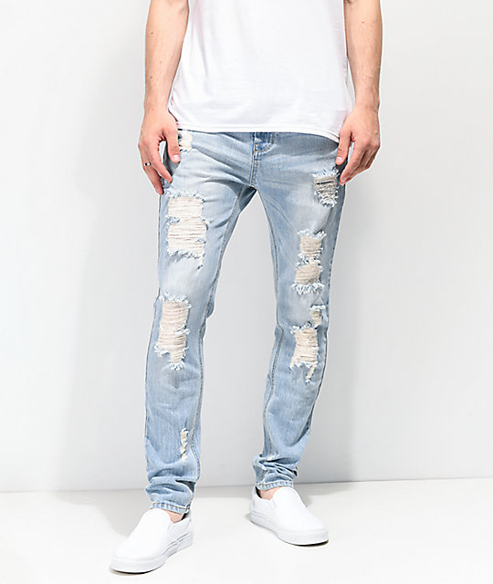 Empyre Verge Sprint Blue Distressed Tapered Skinny Jeans
