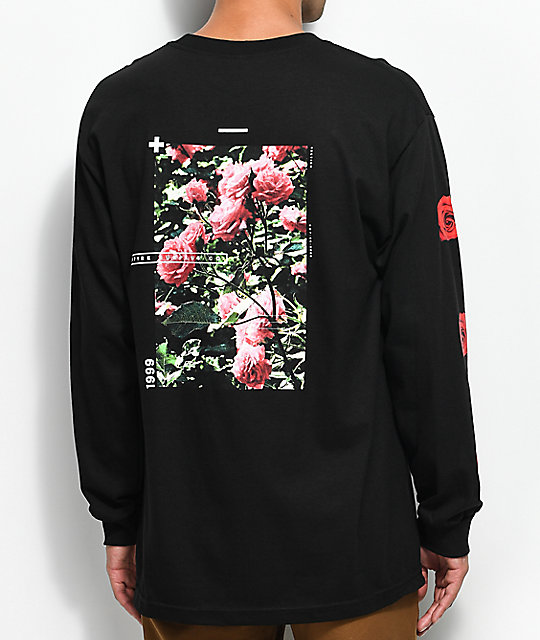Empyre Vertigo Rose Black Long Sleeve T Shirt by Empyre