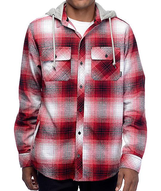 Empyre West Coast Red Shadow Hooded Flannel Shirt Zumiez