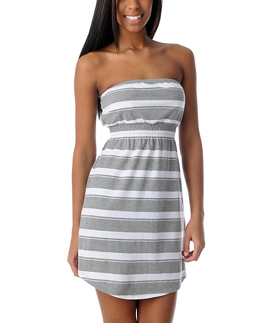 Empyre White & Grey Stripe Tube Dress