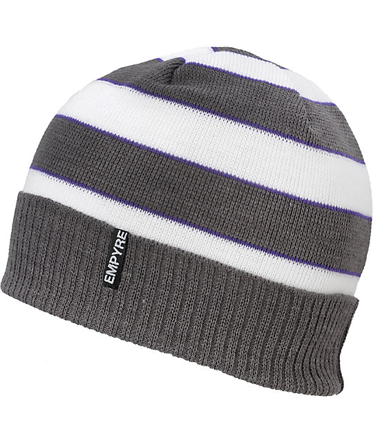 Empyre Wilmer Heather Grey White & Purple Beanie