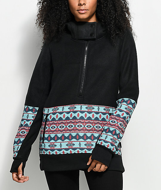 Empyre Woodside Tech Fleece Black Tribal Partial Zip Hoodie