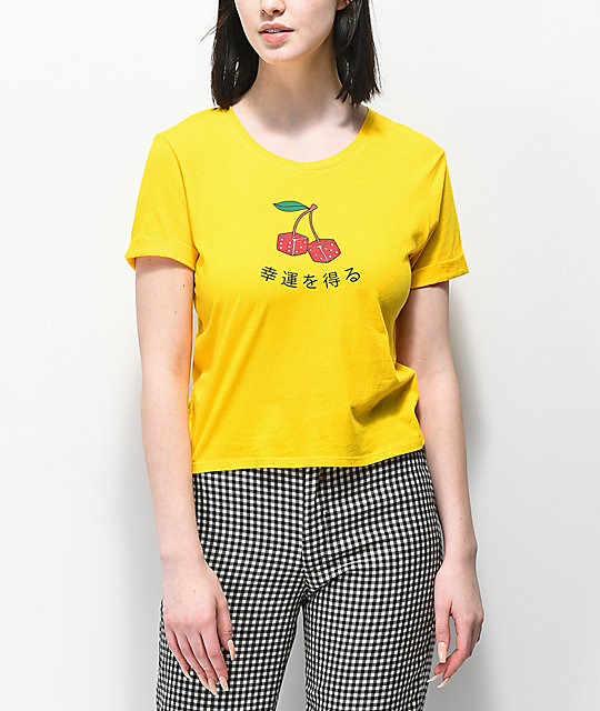 Empyre Yohana Cherry Dice Yellow Crop T-Shirt
