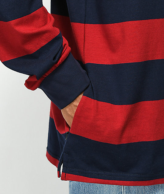 Enjoi Late Grab Red & Navy Long Sleeve Polo Shirt