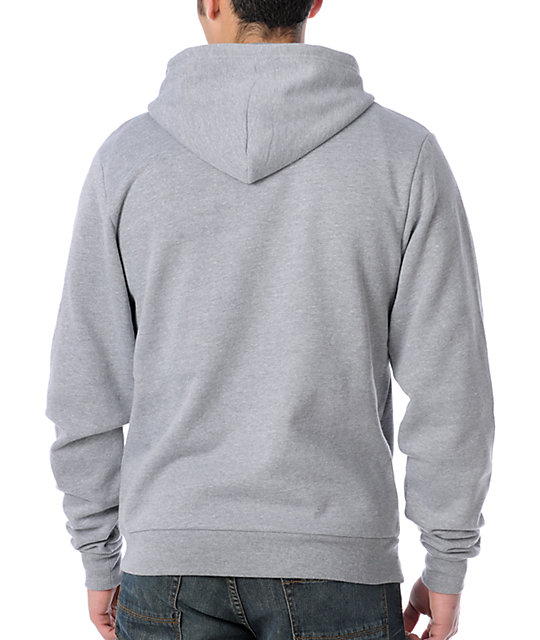Enjoi Mens Panda Solid Grey Zippered Zip Up Hoodie